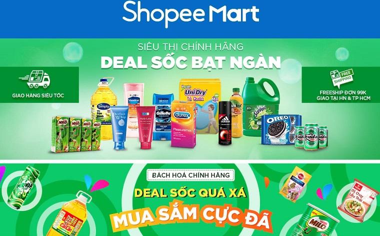 Một số thông tin về shopee mart- siêu thị online 0đ của shopee